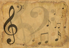 Grunge background with musical symbols Royalty Free Stock Photography