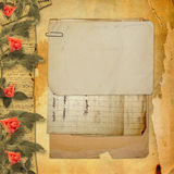 Grunge background with notebook and beautiful Stock Photo