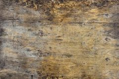 Grunge background of old brown wooden plank. Horizontal stripes royalty free stock photography