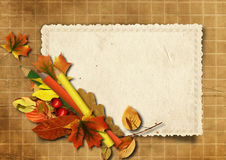 Grunge background with old cards and pencils Stock Photo
