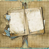 Grunge background with old photos. Grunge background with card for congratulations and invitations. Page  of the old family photo-album Royalty Free Stock Photography
