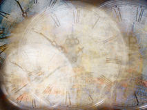 Grunge background with old watch. Time Stock Image