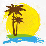 Grunge background with palm trees,. Illustration Stock Images
