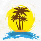 Grunge background with palm trees,. Illustration Royalty Free Stock Images