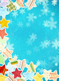 Grunge background with paper stars and snowflakes Stock Image