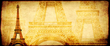 Grunge background with paper texture and landmark of Paris. Eiffel tower Royalty Free Stock Photos