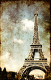 Grunge background with paper texture and landmark of Paris Stock Photos