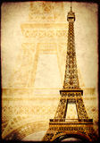 Grunge background with paper texture and landmark of Paris Stock Image