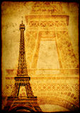 Grunge background with paper texture and landmark of Paris Stock Images
