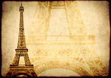 Grunge background with paper texture and landmark of Paris Royalty Free Stock Image