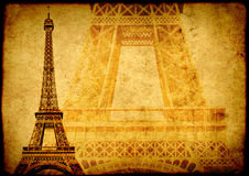 Grunge background with paper texture and landmark of Paris Royalty Free Stock Photography