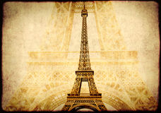 Grunge background with paper texture and landmark of Paris. Eiffel tower Stock Images