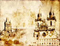 Grunge background with paper texture and landmarks of Czech Repu Stock Image