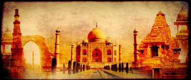 Grunge background with paper texture and landmarks of India Stock Image