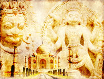 Grunge background with paper texture and landmarks of India Stock Images