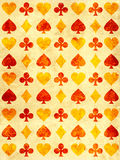 Grunge background with paper texture and playing cards symbol. S Stock Image
