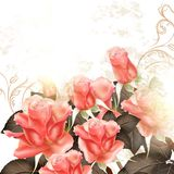 Grunge  background with pink roses for design. Vector cute pink roses in vintage style for design Royalty Free Stock Photo