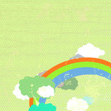 Grunge background with rainbow. The retro background with rainbow  and clouds Stock Photography