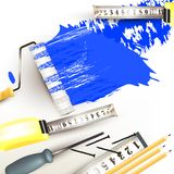 Grunge background with repair instruments roll, ruler and pencil Stock Photo
