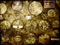 Grunge background with retro control panel in a war plane cockpi Royalty Free Stock Image