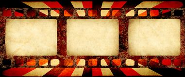 Grunge background with retro filmstrips and paper texture. Grunge horizontal background with retro filmstrips and old paper texture with striped brust pattern royalty free illustration