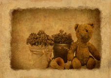 Grunge background with retro toy bear Stock Photography