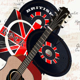 Grunge background with retro vinyl disc, GB flag and acoustic  Royalty Free Stock Images