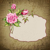Grunge background with roses Royalty Free Stock Photography