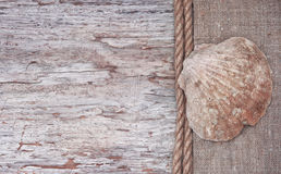 Grunge background with seashell, rope on sackcloth Stock Photos