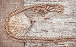 Grunge background with seashell, rope on sackcloth Stock Images