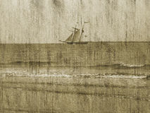 Grunge Background/Ship/Ocean. A grunge olden style photo with a ship sailing on the horizon and a shore in the foreground, to use as a background or wall paper stock illustration
