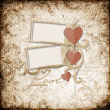 Grunge  background with stamp-frames and heart Royalty Free Stock Images