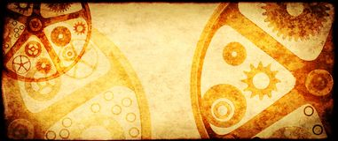 Grunge background in steampunk style. With retro paper texture of brown color and vintage gears stock photography