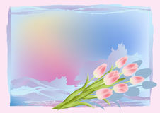 Grunge background with tulips. Royalty Free Stock Photography