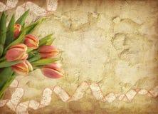 Grunge background with tulips Stock Photo
