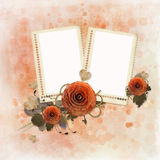 Grunge background with two photo frames Royalty Free Stock Photos