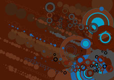 Grunge background,vector illu. Grunge background with many different blue and brown circles Stock Photography
