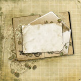 Grunge background with vintage card Royalty Free Stock Photos