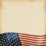 Grunge background with wavy USA flag. Vintage style grunge background with USA flag at the bottom. Grunge Elements and a faintly striped beige brown background stock illustration
