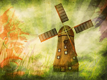 Grunge background with windmill vector illustration