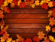 Grunge background with wooden planks autumn leaves Royalty Free Stock Photos