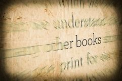 Grunge background with word \'BOOKS\' in center royalty free stock photography