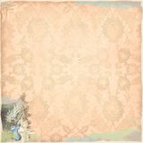 Grunge Background Worn Look Peach Lace Corset Bohemian Art Deco. 12x12 300dpi Background with lace and brushstrokes, retro images Stock Illustration