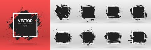 Grunge backgrounds set. Brush black paint ink stroke over square frame.