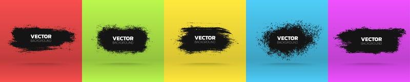 Grunge backgrounds set. Brush black paint ink stroke various banners. Vector illustration royalty free illustration