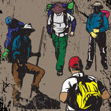 Grunge Backpackers Stock Photo