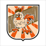 Grunge badge with chicken Royalty Free Stock Photo