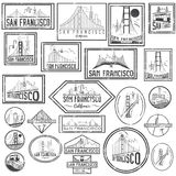 Grunge badges with San Francisco skyline. Vector Stock Photos