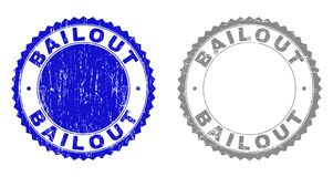 Textured BAILOUT Scratched Watermarks. Grunge BAILOUT stamp seals isolated on a white background. Rosette seals with grunge texture in blue and gray colors vector illustration