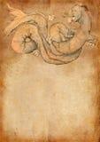 Grunge bakgrund med draken Arkivbild